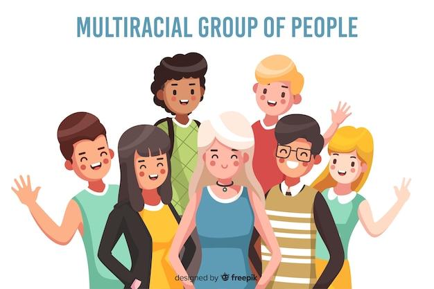 Fondo de grupo de personas multiracia vector gratuito