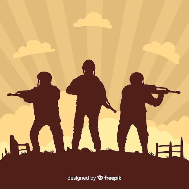 Fondo de guerra con siluetas de soldados vector gratuito