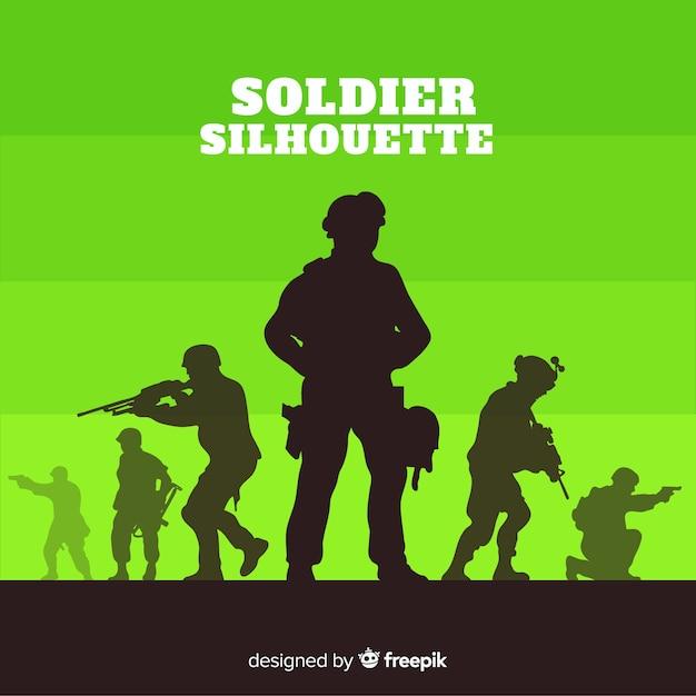 Fondo de guerra con siluetas de soldados Vector Premium
