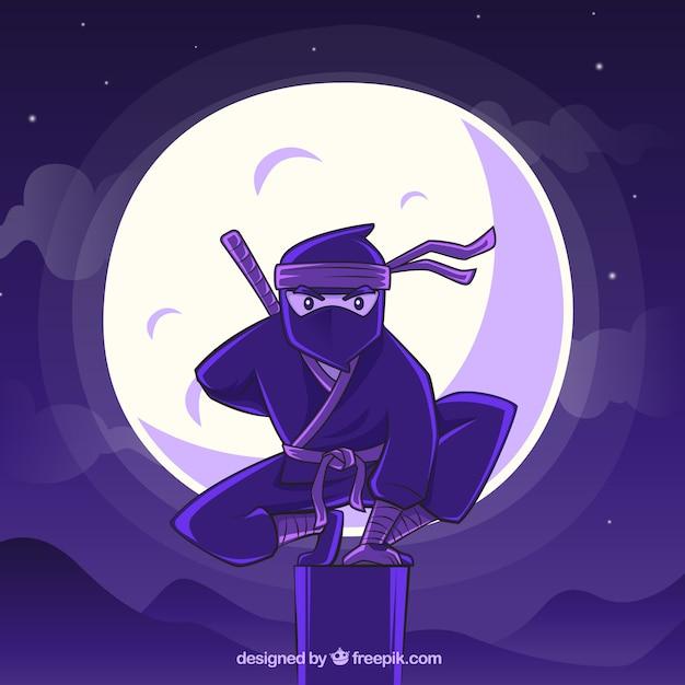 Fondo de guerrero ninja dibujado a mano vector gratuito