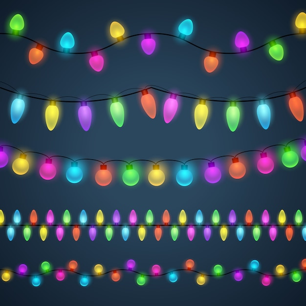 Fondo de guirnaldas de luz multicolores vector gratuito