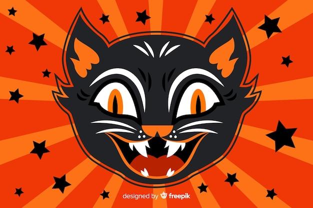 Fondo de halloween de cabeza de gato negro aterrador vector gratuito