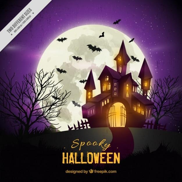 Fondo de halloween de casa encantada vector gratuito