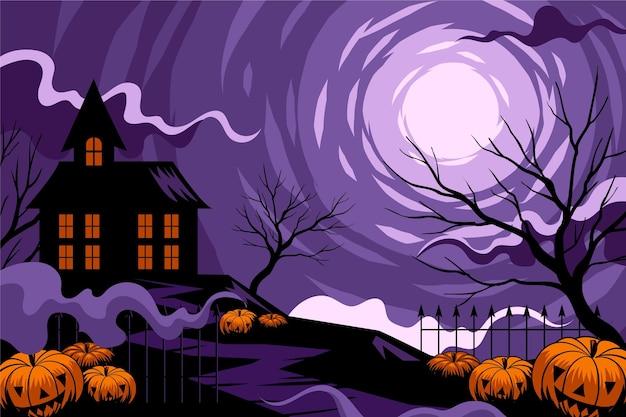 Fondo de halloween con casa Vector Premium