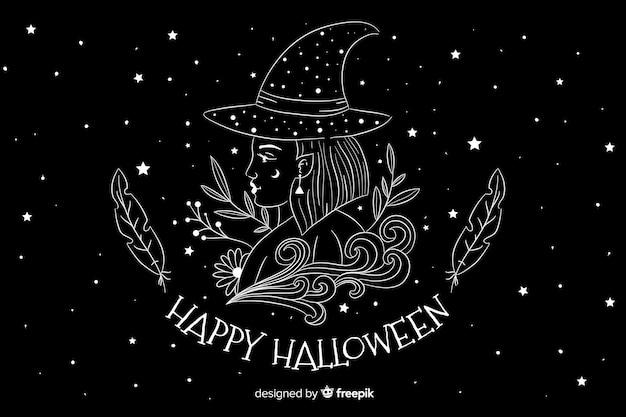 Fondo de halloween dibujado a mano con noche estrellada vector gratuito