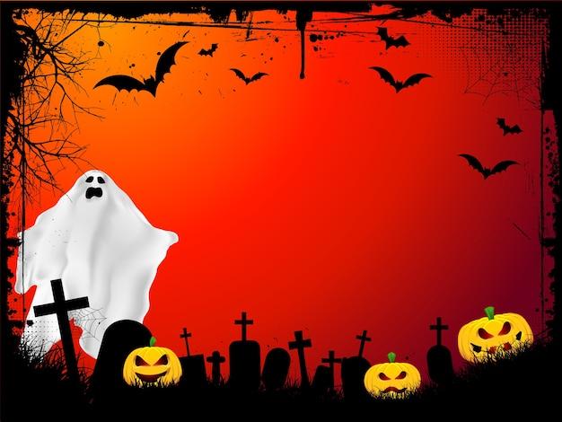 Fondo de halloween de grunge con calabazas malvadas y fantasma aterrador vector gratuito