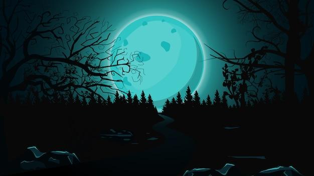 Fondo de halloween, luna llena azul, bosque oscuro y sendero solitario. Vector Premium