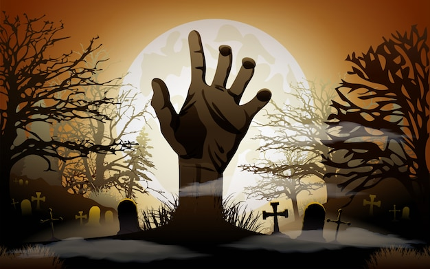 Fondo de halloween mano zombie Vector Premium