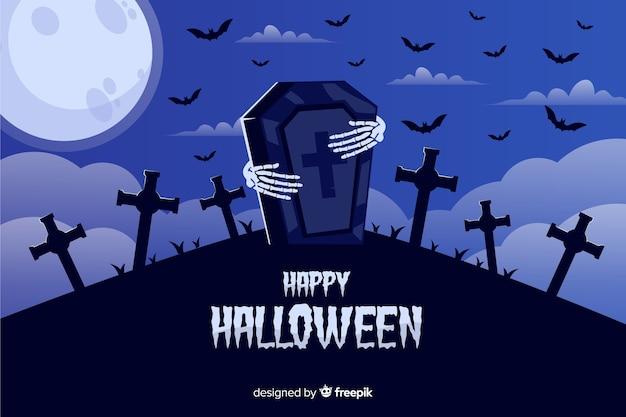 Fondo de halloween con manos de esqueleto y piedra de la tumba vector gratuito
