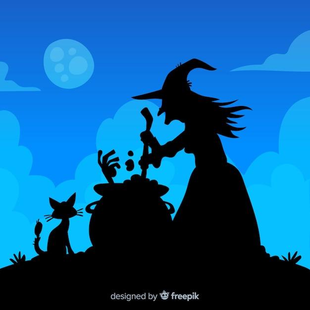 Fondo de halloween con silueta de bruja vector gratuito
