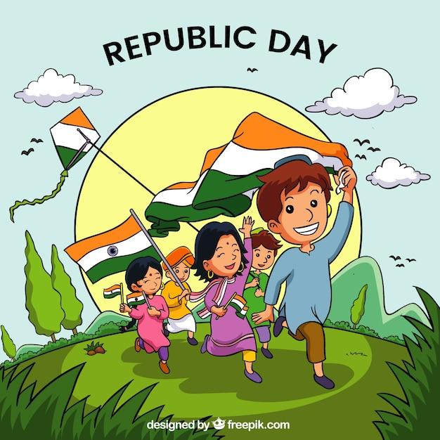Fondo hecho a mano del día de la república de india | Descargar ...