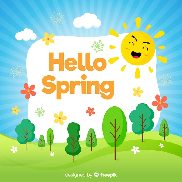 Fondo de hello spring en diseño plano vector gratuito