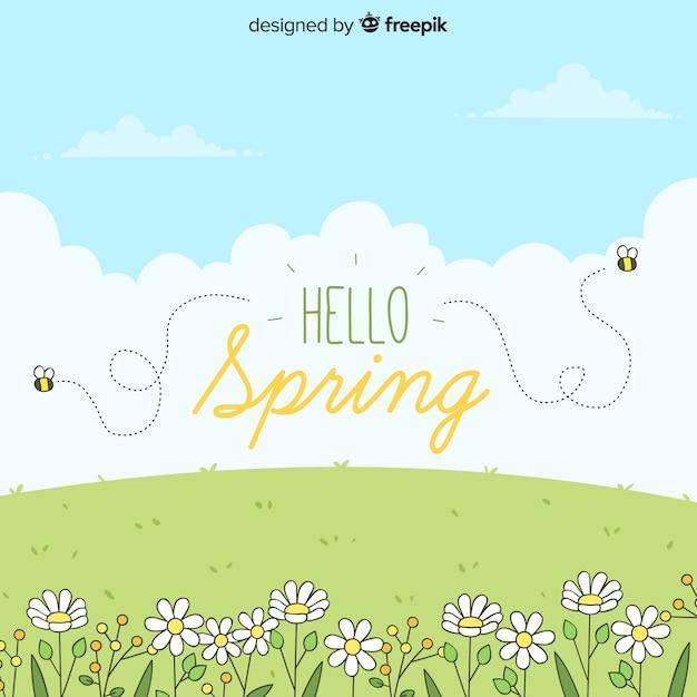 Fondo de hello spring vector gratuito