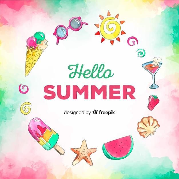 Fondo de hello summer en acuarela vector gratuito