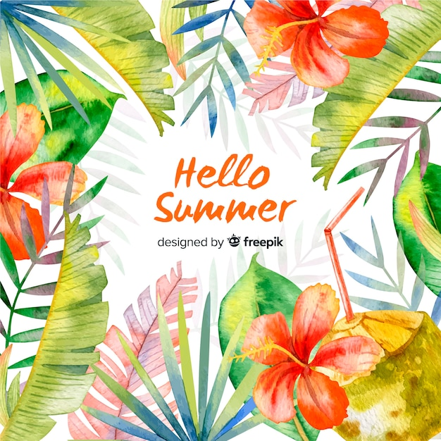 Fondo hello summer en acuarela vector gratuito