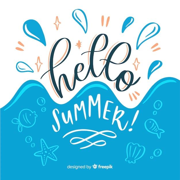 Fondo de hello summer dibujado a mano vector gratuito