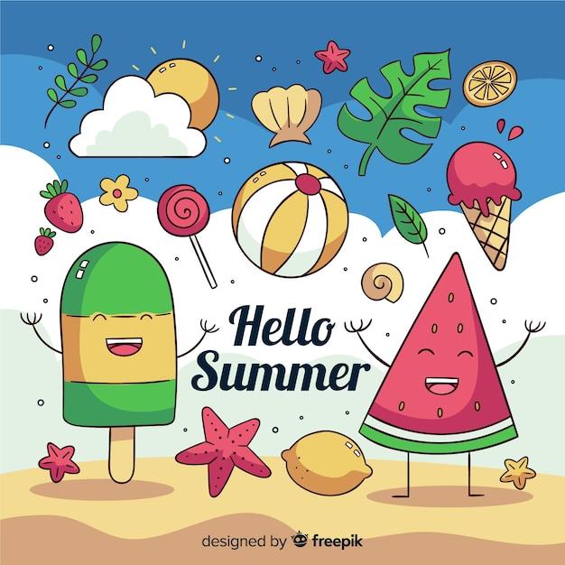Fondo hello summer dibujado a mano vector gratuito