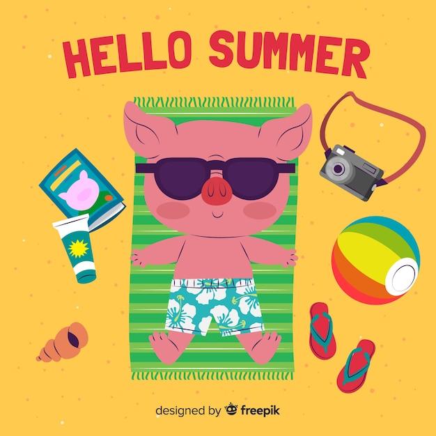 Fondo de hello summer en diseño plano vector gratuito