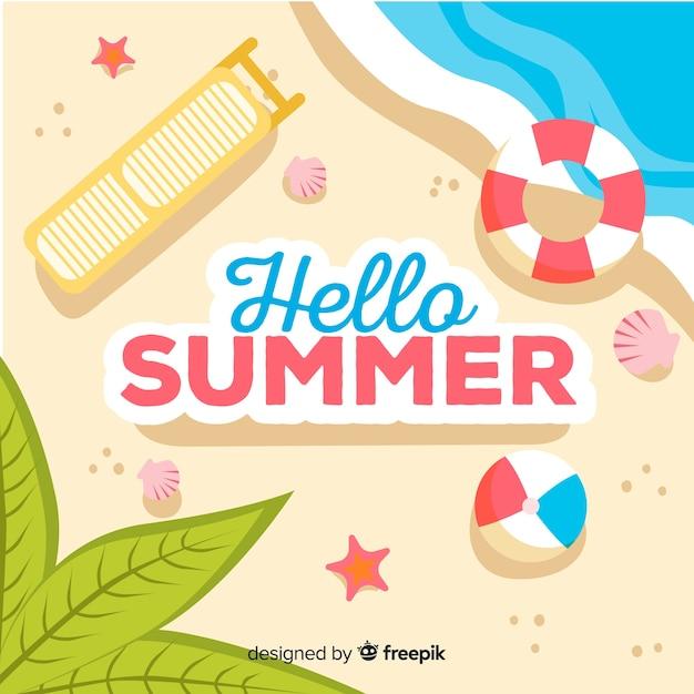 74465b24c Fondo de hello summer en diseño plano | Descargar Vectores gratis