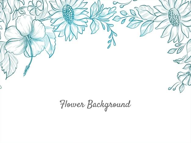 Fondo hermoso del diseño del bosquejo de la flor dibujada a mano vector gratuito