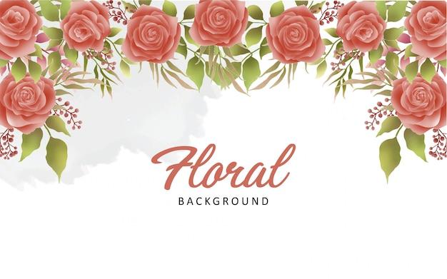 Fondo hermoso de la flor de la acuarela Vector Premium
