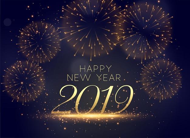 Fondo hermoso de fuegos artificiales de celebración de 2019 vector gratuito