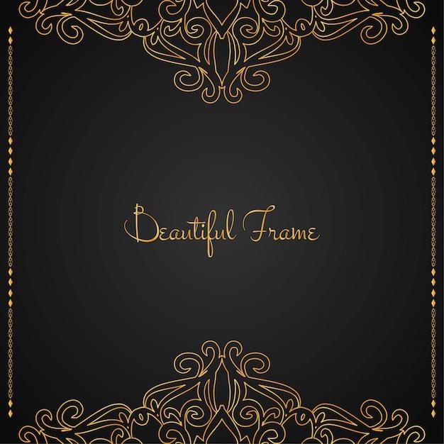 Fondo hermoso marco dorado de lujo vector gratuito