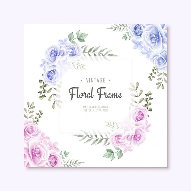 Fondo hermoso del marco de florar de las flores azules y rosadas de la acuarela Vector Premium