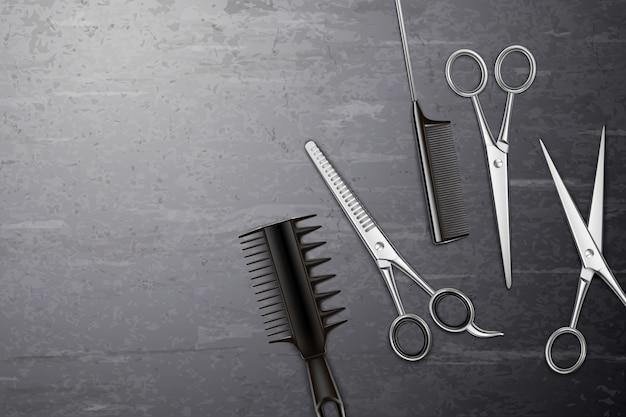 Fondo de herramientas de peluquería con peine y tijeras en mesa realista vector gratuito