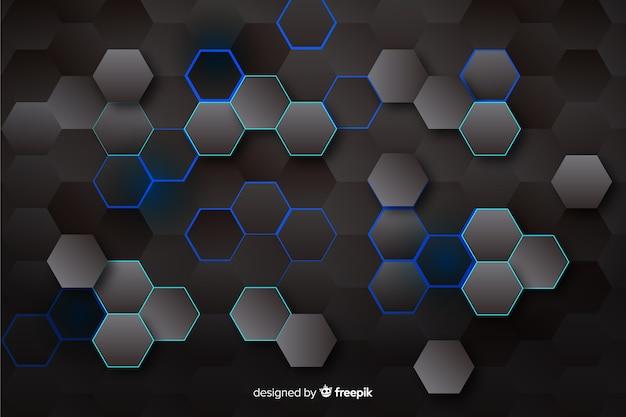 Fondo hexagonal tecnológico en colores oscuros vector gratuito