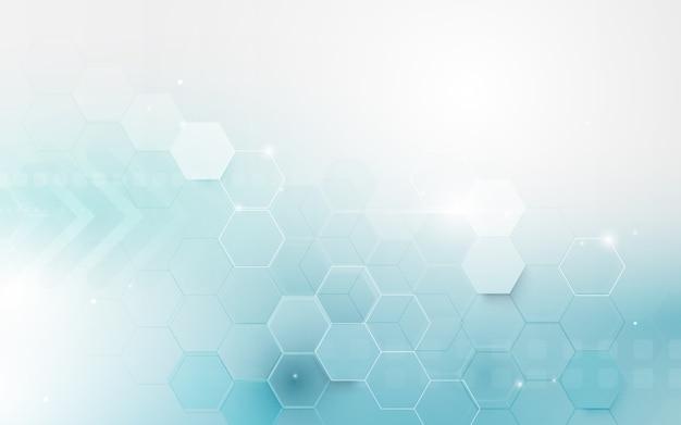 Fondo de hexágono geométrico abstracto azul Vector Premium