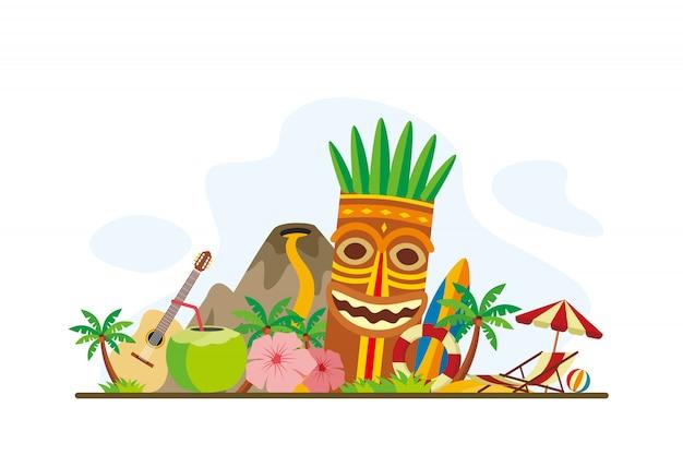 Fondo de hitos de isla tropical de hawaii Vector Premium