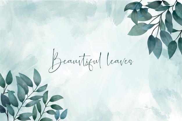Fondo de hojas de acuarela elegante vector gratuito