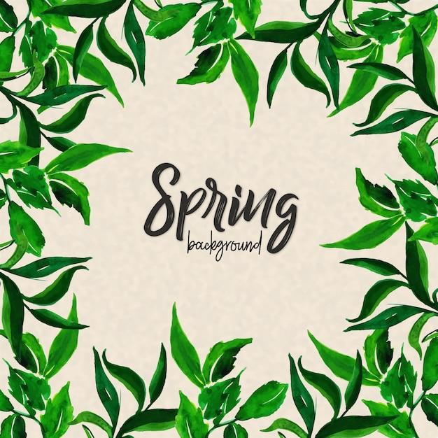 Fondo de hojas de acuarela de la primavera | Descargar Vectores gratis