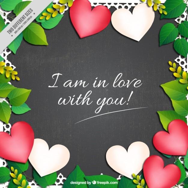Fondo De Hojas Y Corazones Con Una Frase De Amor Descargar