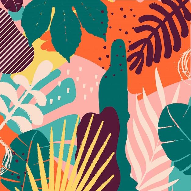 Fondo de hojas y flores de la selva tropical Vector Premium