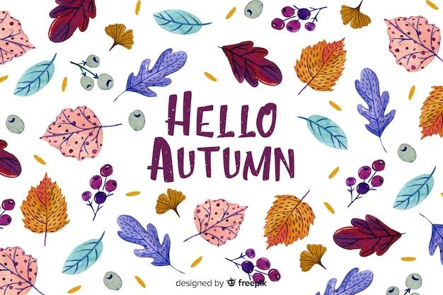 Fondo de hojas de otoño dibujado a mano vector gratuito