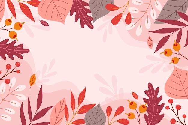 Fondo de hojas de otoño de diseño plano vector gratuito