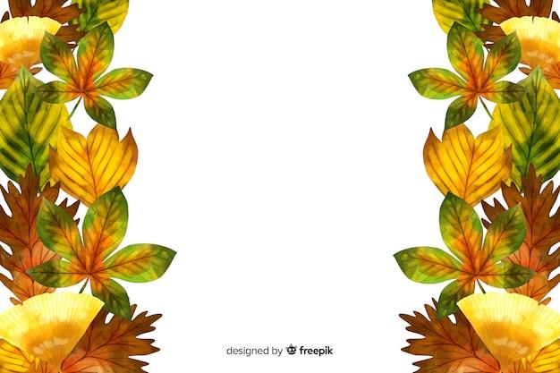 Fondo de hojas de otoño estilo acuarela vector gratuito