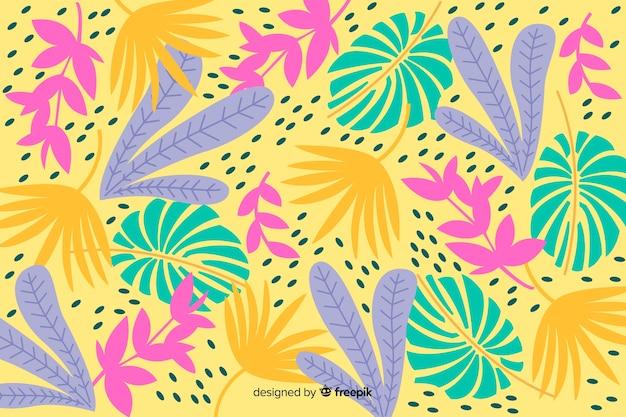 Fondo hojas tropicales coloridas dibujadas a mano vector gratuito