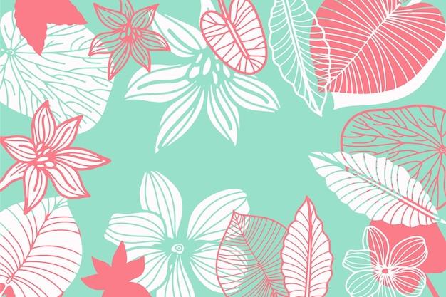 Fondo de hojas tropicales lineal azul pastel Vector Premium