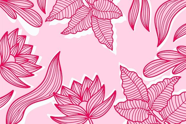 Fondo de hojas tropicales lineal rosa pastel vector gratuito