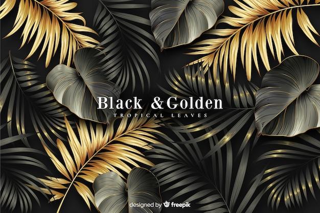 Fondo hojas tropicales realistas oscuras y doradas vector gratuito