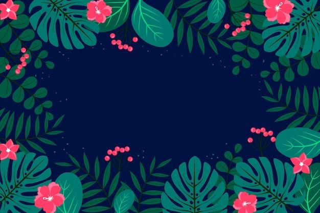 Fondo de hojas tropicales para zoom Vector Premium
