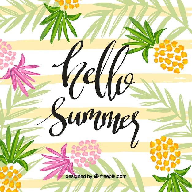 Fondo de hola verano con piñas coloridas vector gratuito
