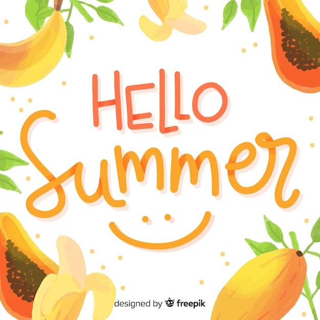 Fondo de hola verano vector gratuito