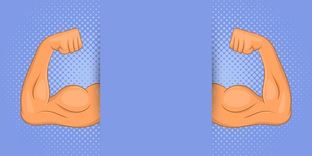 Fondo de hombre musculoso, estilo de dibujos animados Vector Premium