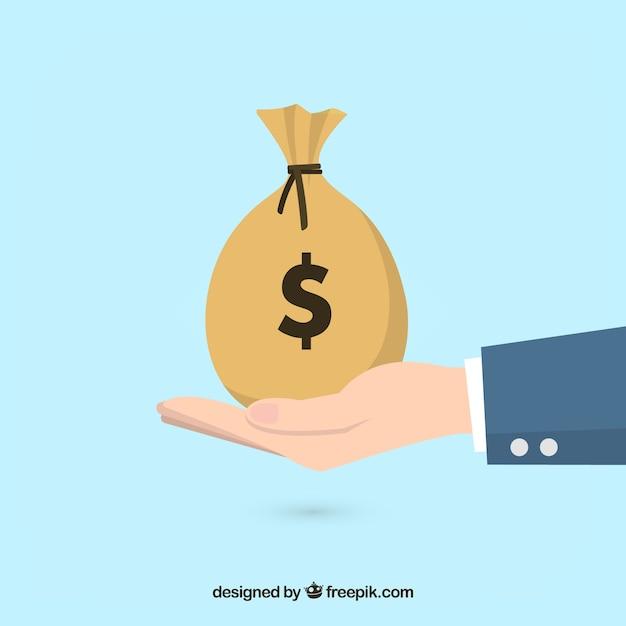 Fondo de hombre de negocios con bolsa de dinero Vector Premium