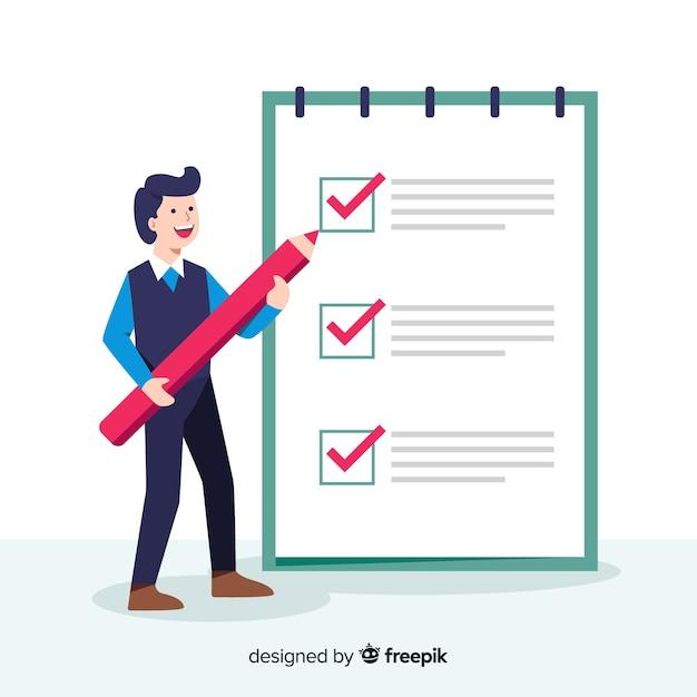 Fondo hombre trabajando en lista de comprobación Vector Premium