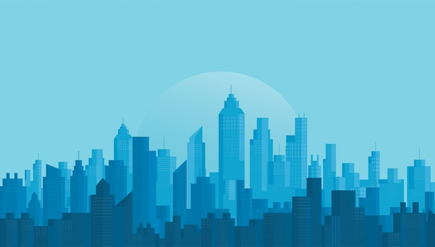 Fondo del horizonte de la ciudad moderna Vector Premium